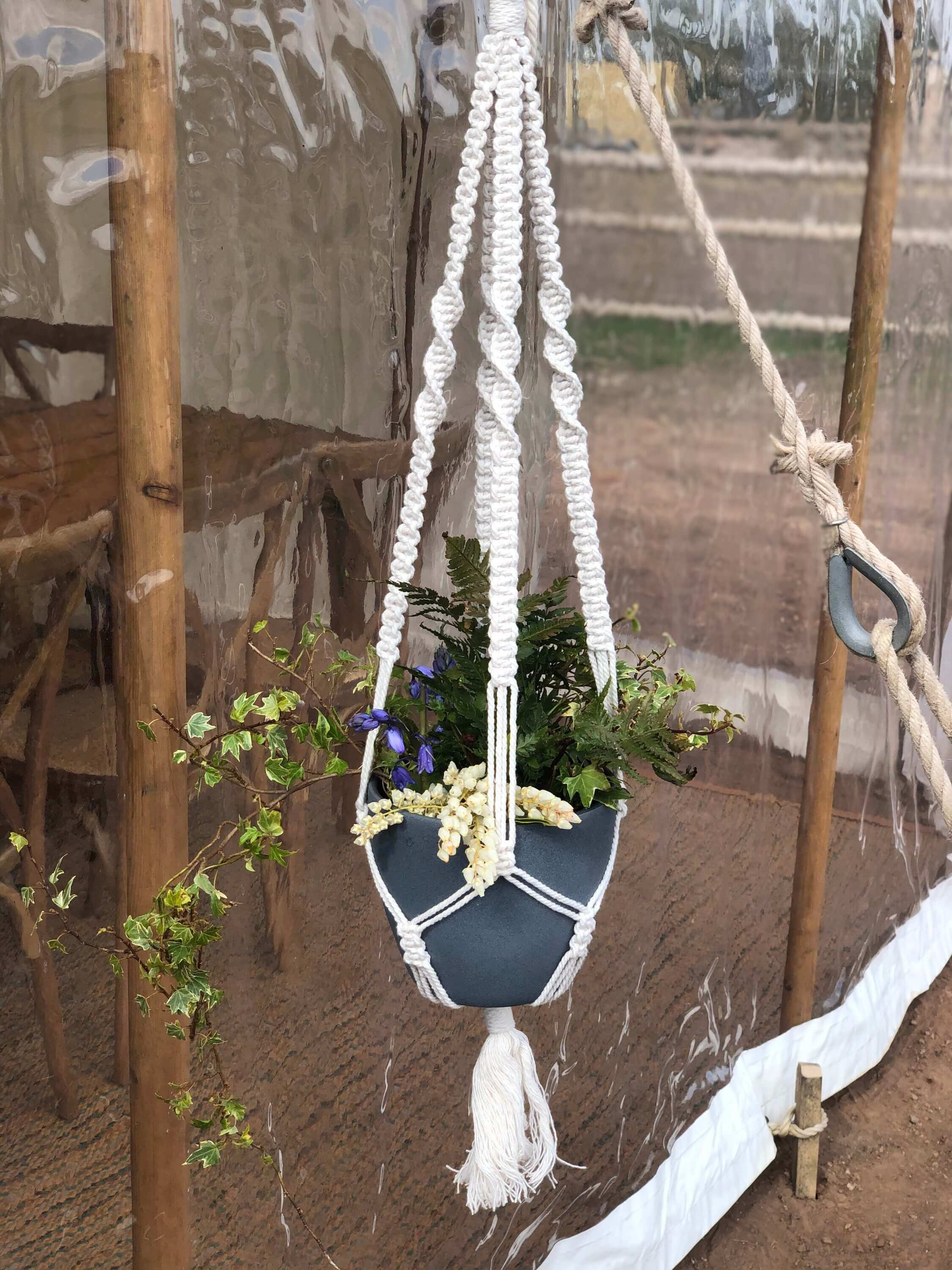 macrame plant hangers as wedding marquee styling decor