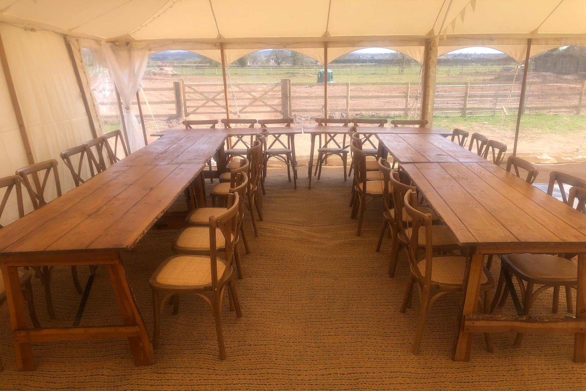 rustic trestle table and cross back chairs hire
