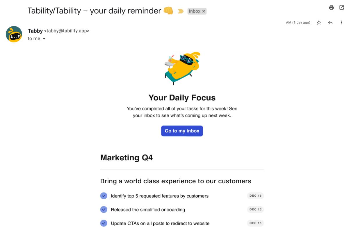 screenshot Tability tasks email