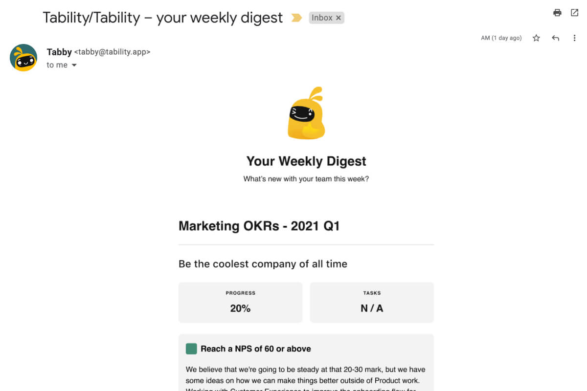 screenshot of weekly digest email