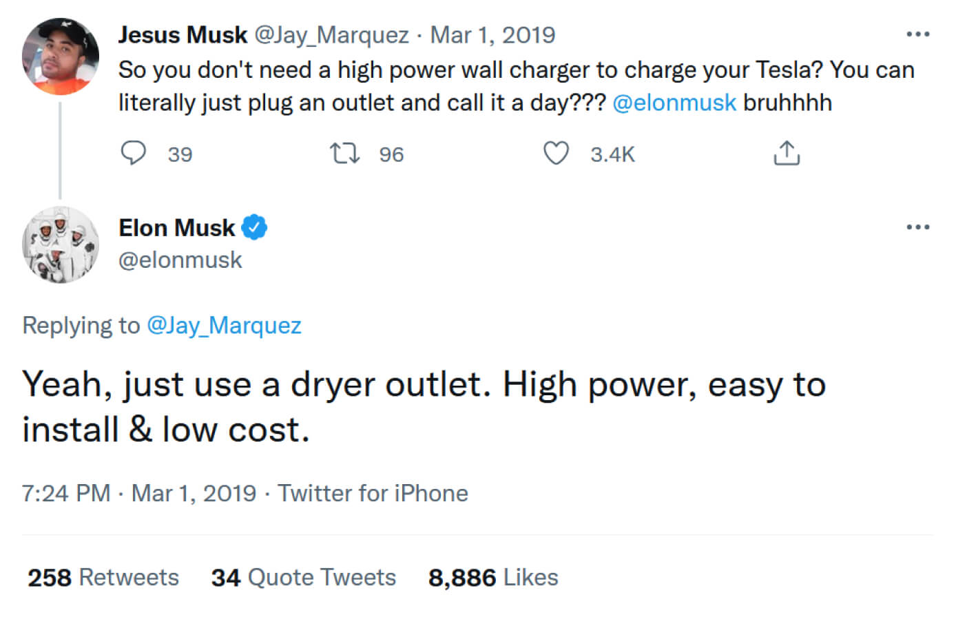 """Tweet to Elon Musk saying """"so you don't need a high power wall charger to charge your Tesla? You can literally just plug an outlet and call it a day?"""" and Elon Musk replying """"Yeah, just use a dryer outlet. High power, easy to install & low cost."""""""