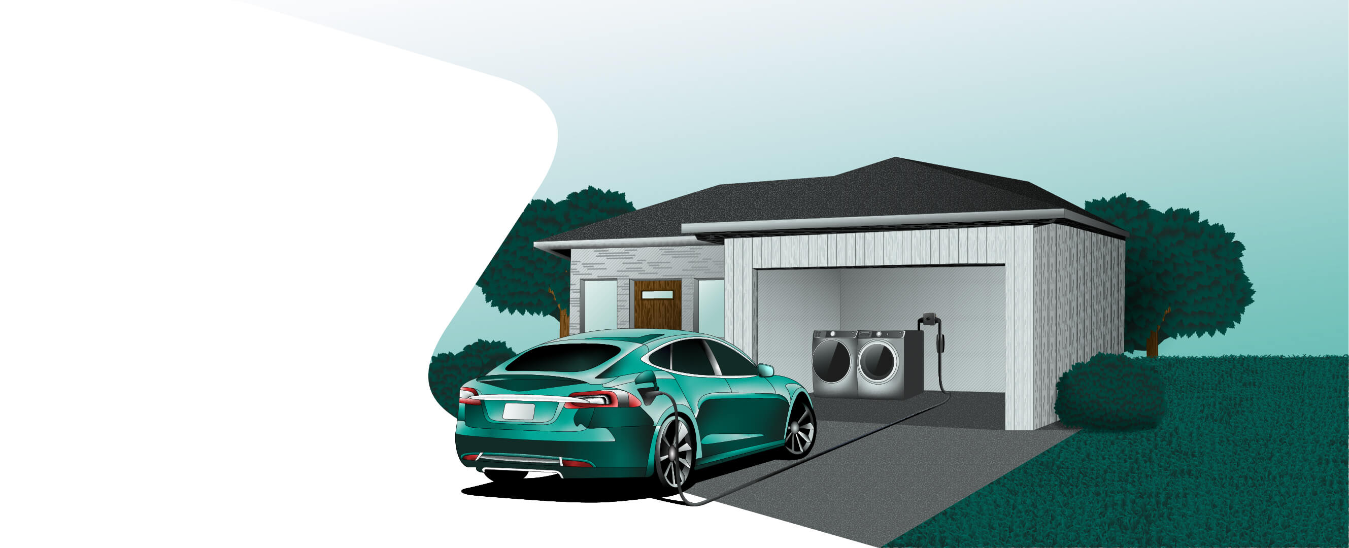 Electric car and a washing machine charging from the same outlet using Smart Splitter