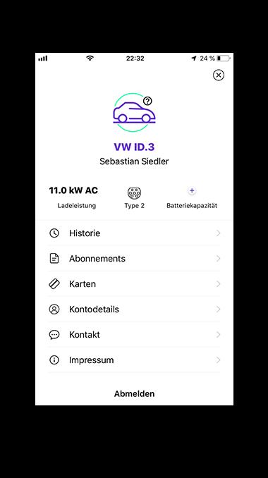 Übersicht Lade-App