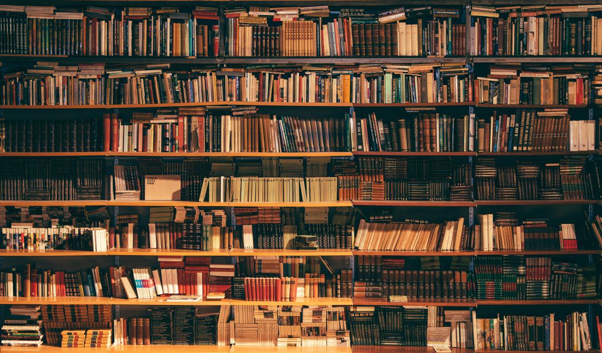 library shelves full of books