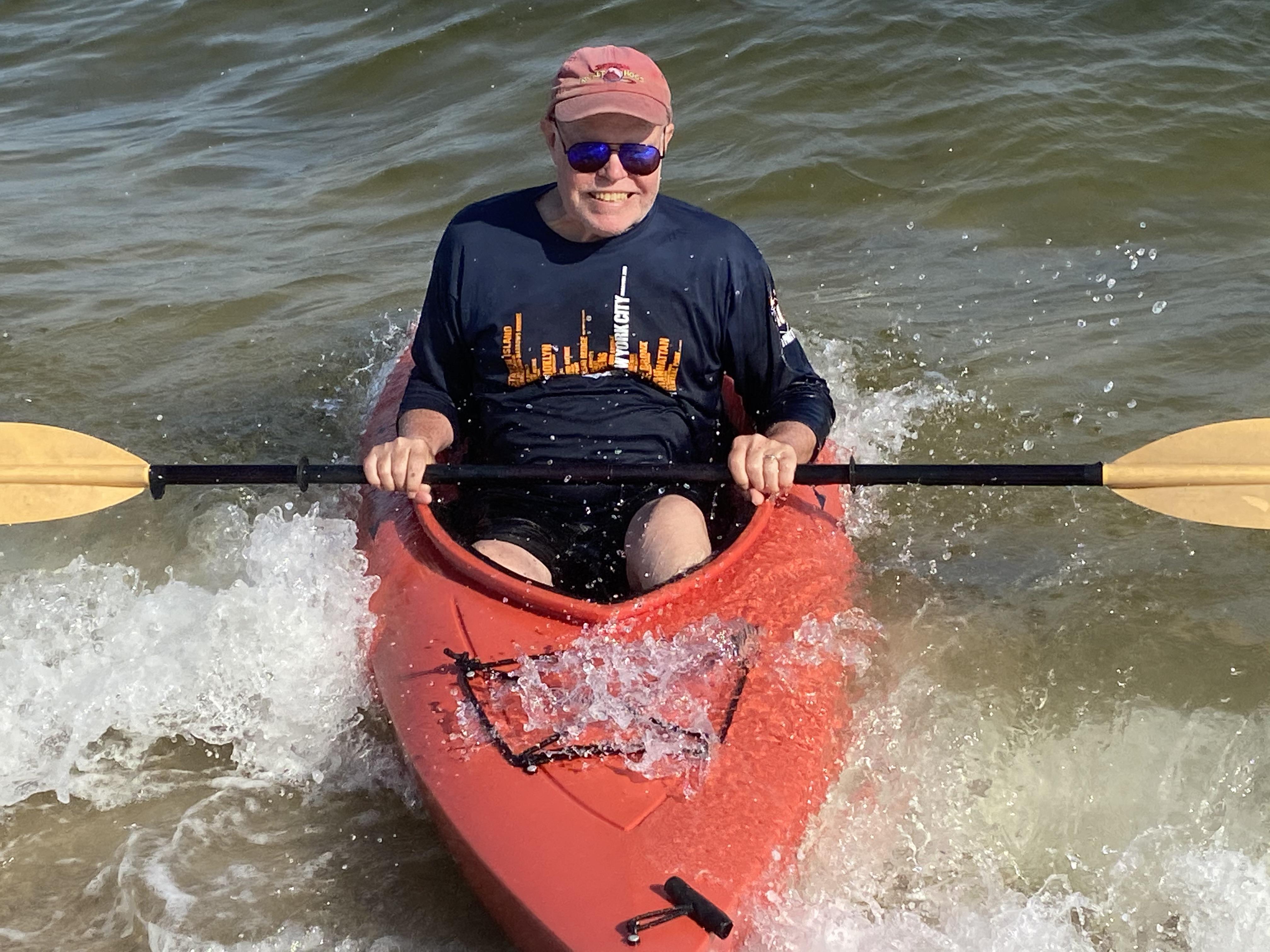 Ken enjoying a kayak ride in North Fork of Long Island