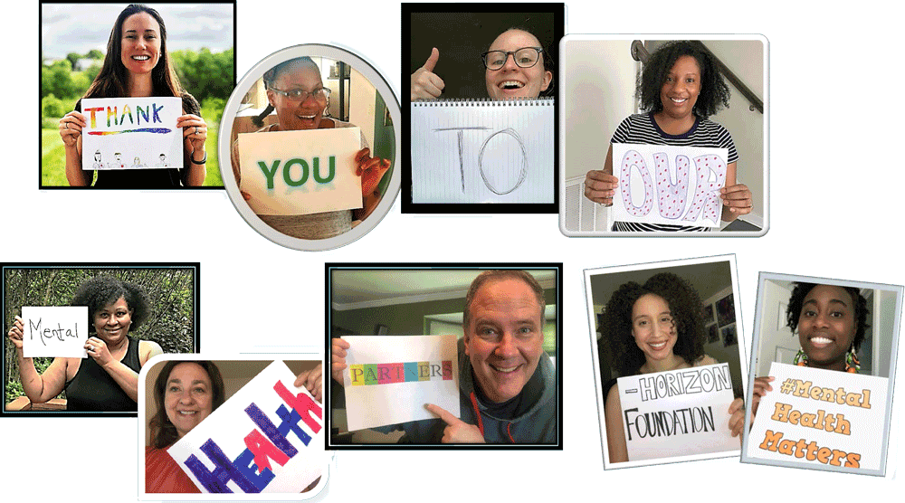 """The Horizon Foundation team hold up signs that say, """"Thank you to our mental health partners. #MentalHealthMatters"""""""