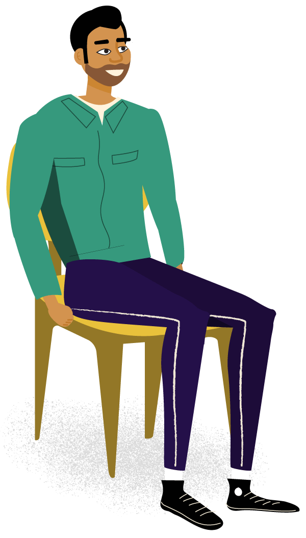 Illustration of a man sitting in a chair smiling