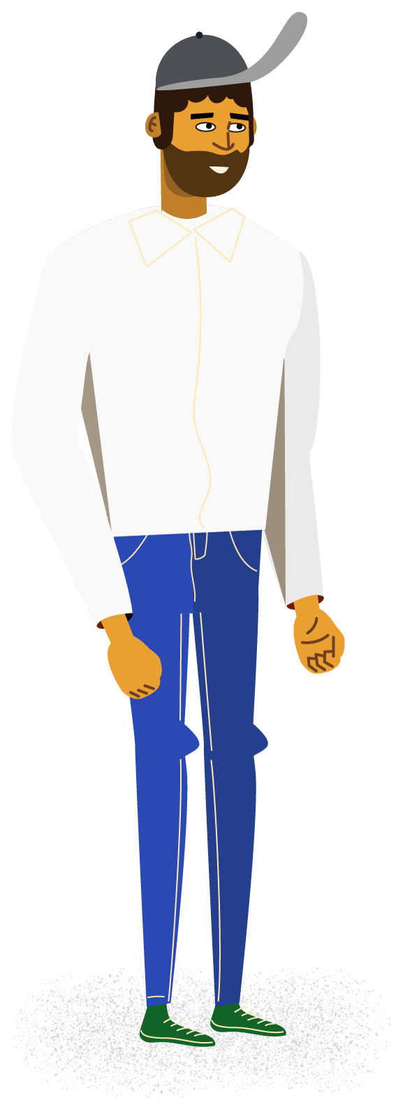 Illustration of a man in a baseball cap
