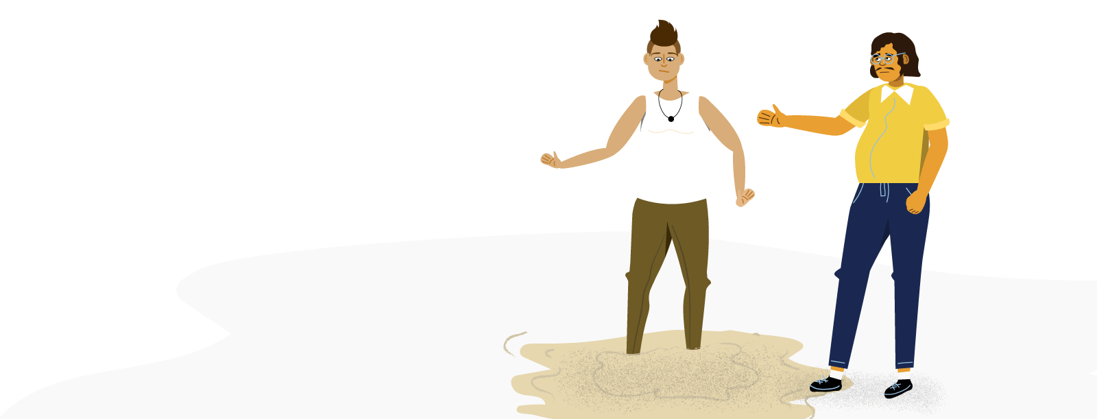 Illustration of a man helping his friend out of metaphorical quick sand