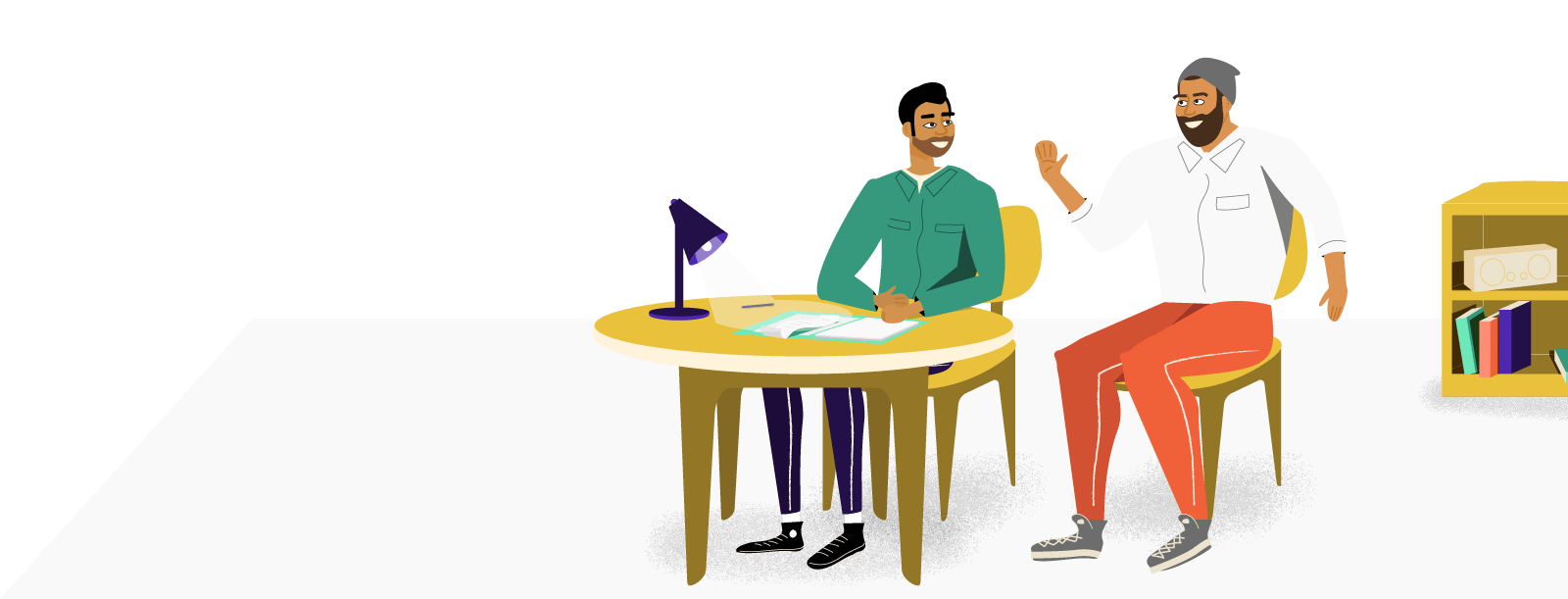 Illustration of man waving at his friend who is sitting at a desk