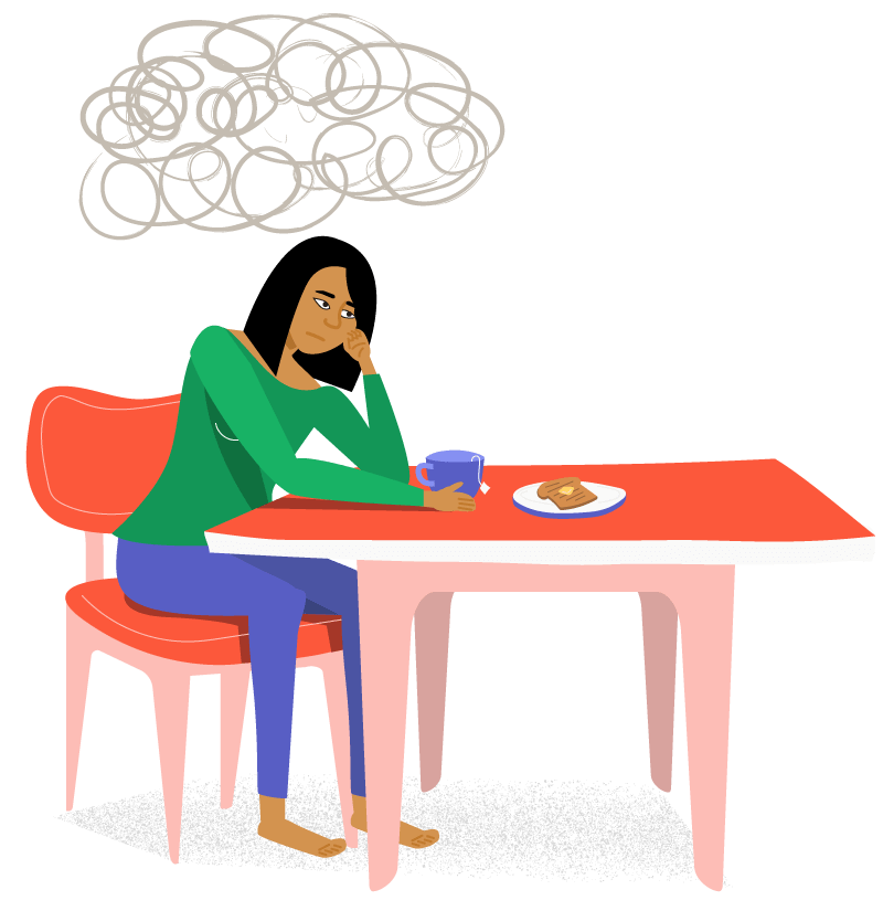 Illustration of woman who looks troubled sitting at a kitchen table with a cloud over her