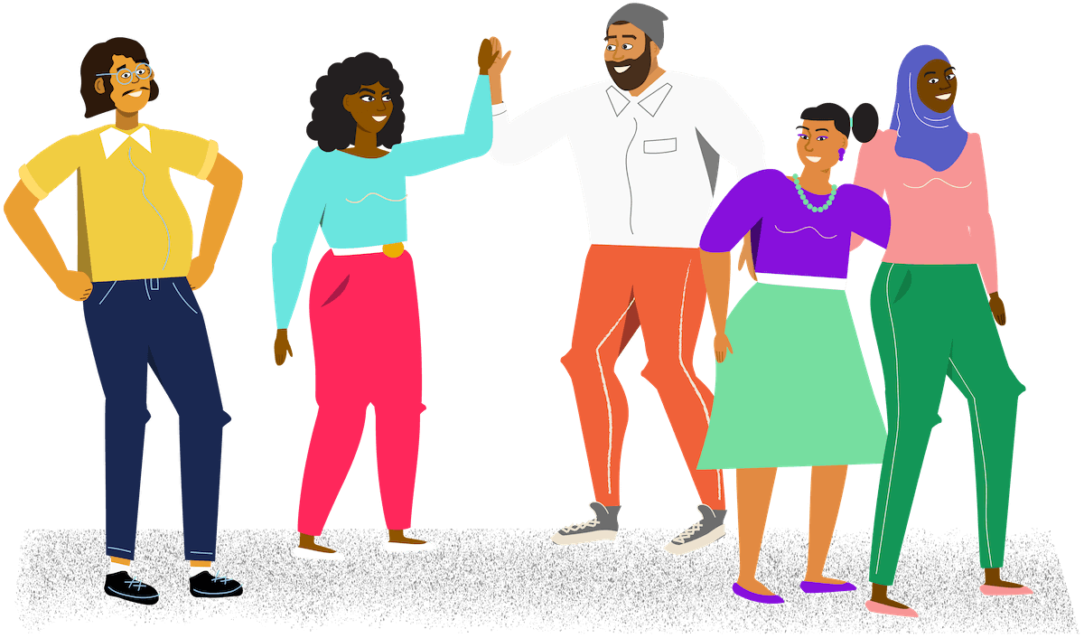 Illustration of a group of people smiling, giving high fives, and hugging