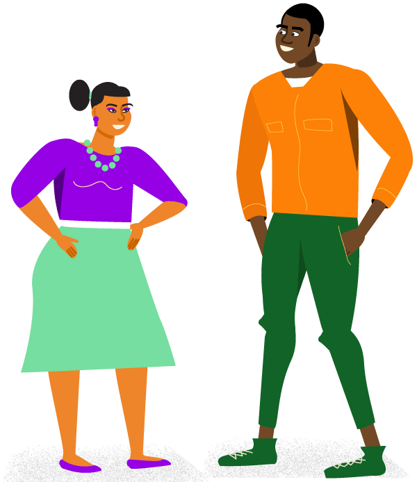 Illustration of a man and a woman smiling and talking