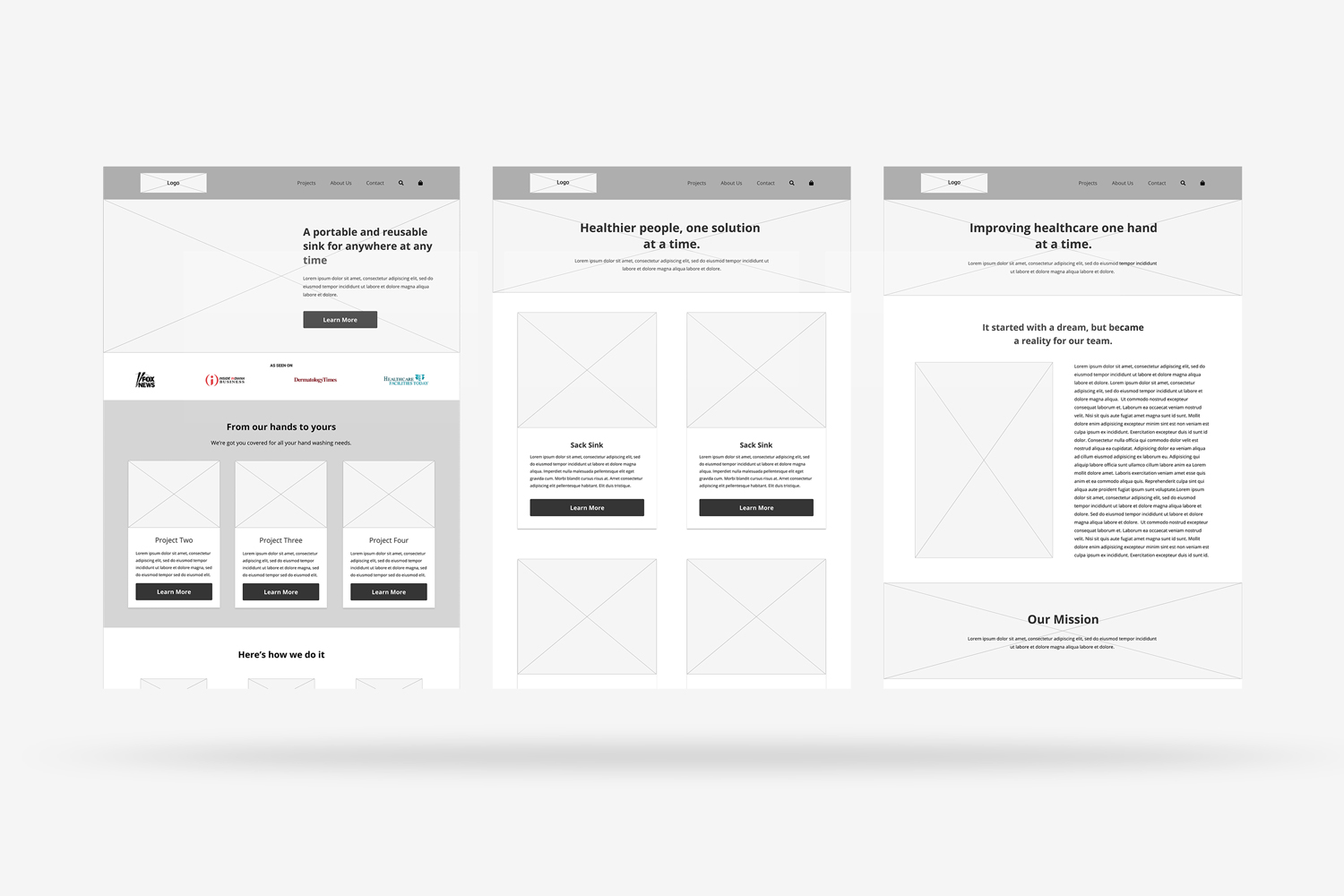 A mockup of three wireframes created for Project Process.