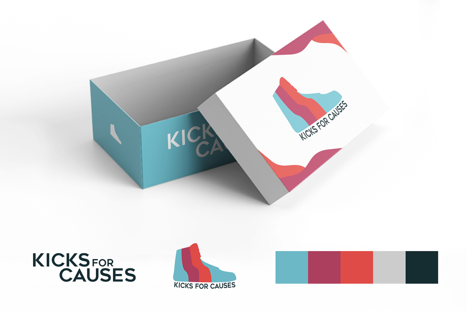 A mockup of the brand identity created for Kicks for Causes.
