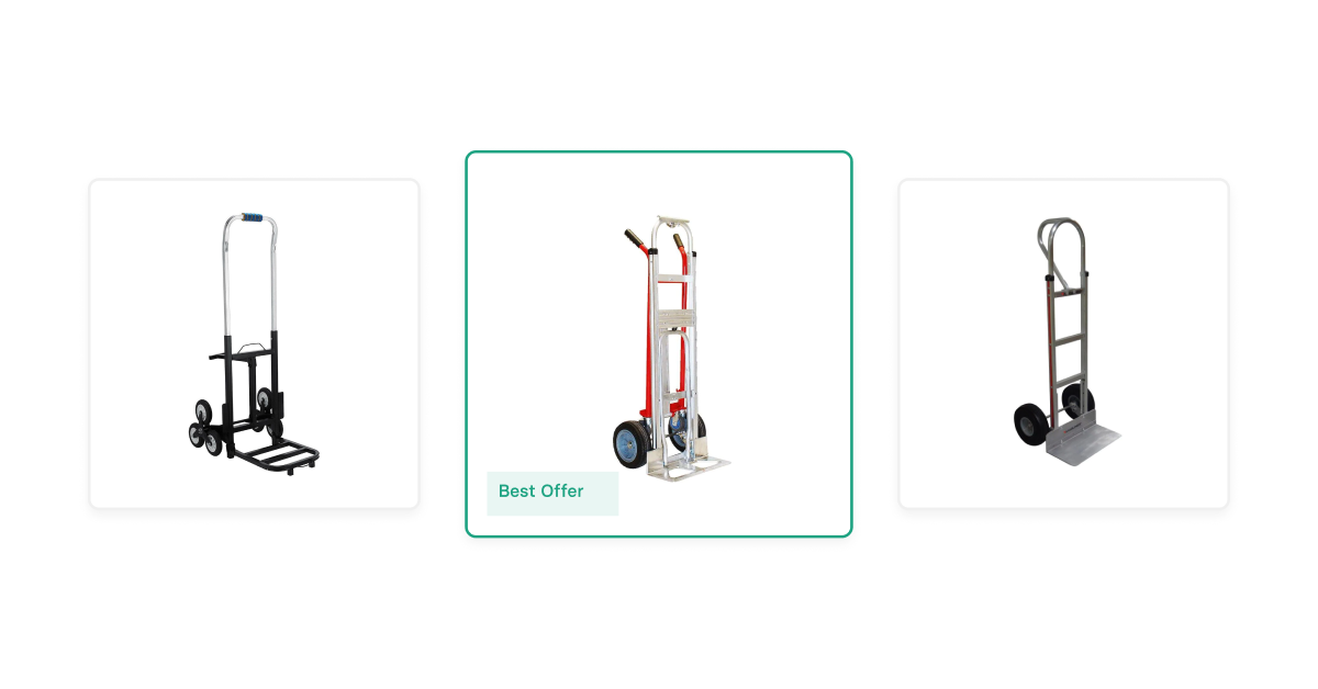 Three hand trucks with the middle one marked as best offer