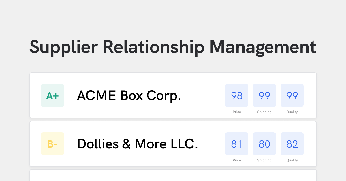 Supplier relationship management with table of suppliers and scores for price, shipping, and quality