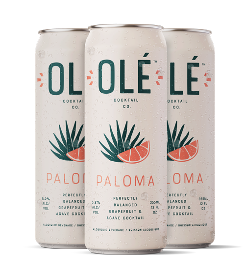Stylized graphic of Olé Margarita cans