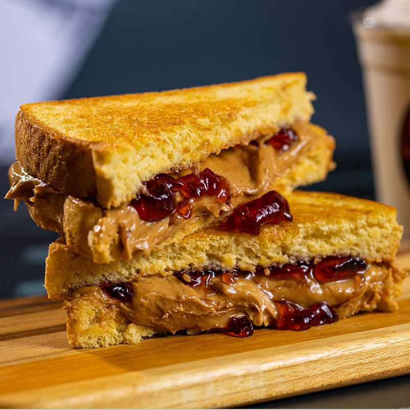 A grilled peanut butter and jelly sandwich, re-imagined!