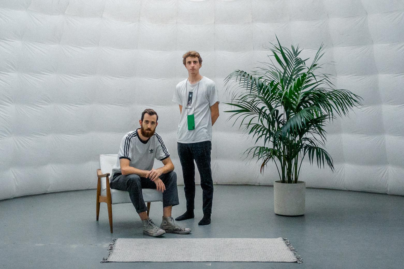 Co-founders Jacob and Hunter in our dome set design.