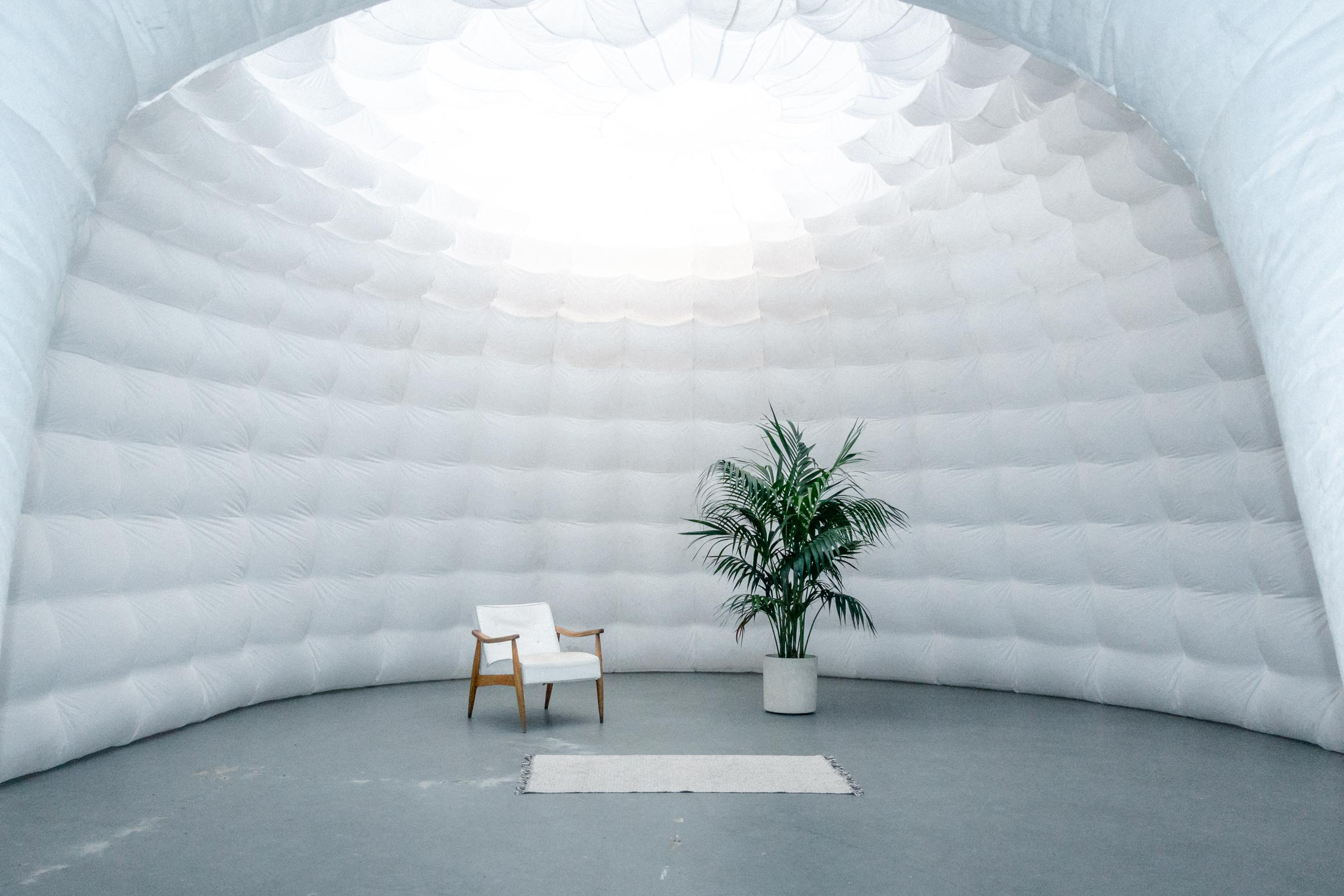 The inflatable dome set in the studio.