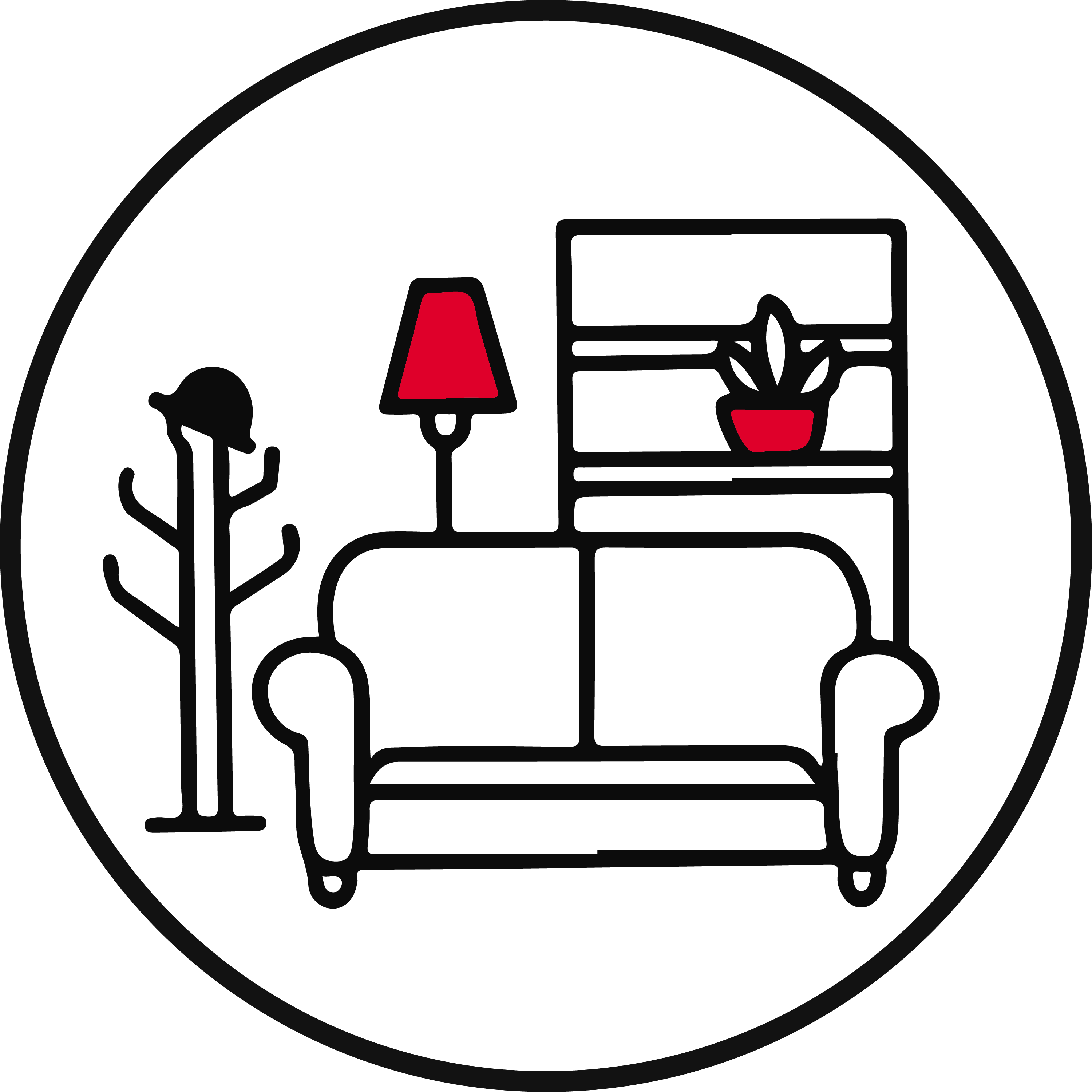 Housing Essentials Icon with household supplies like a couch, plant, shelter, and lamp