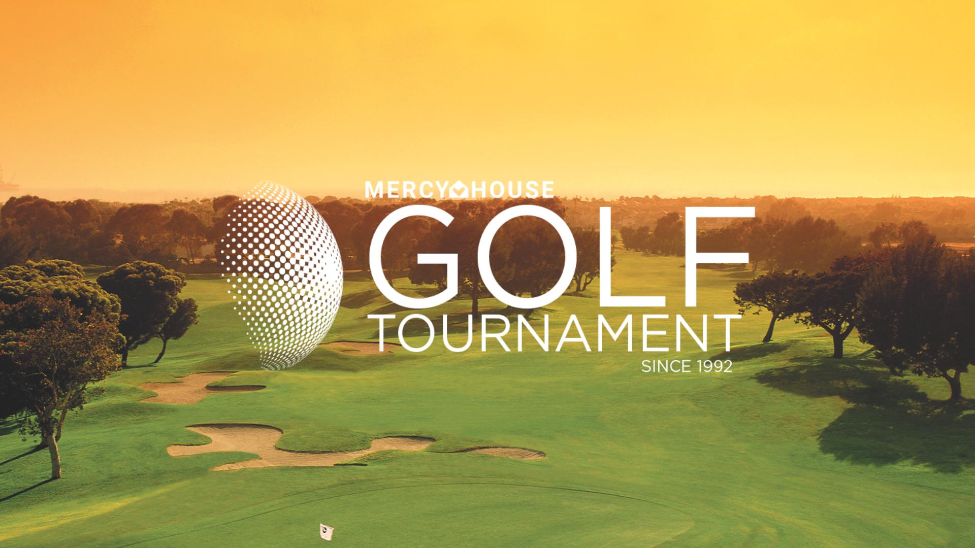 Golf logo over Golf Tournament photo