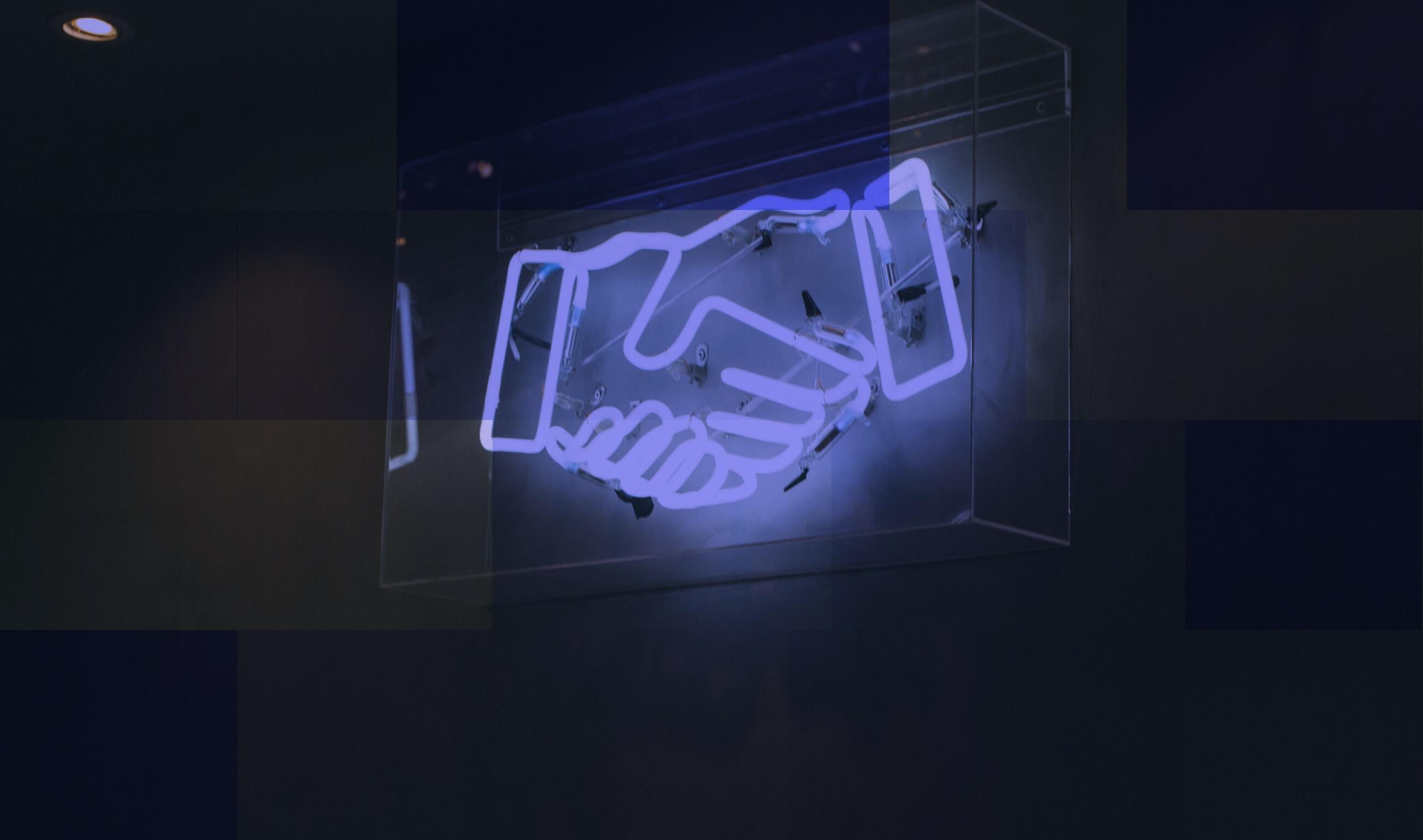 handshaking neon light