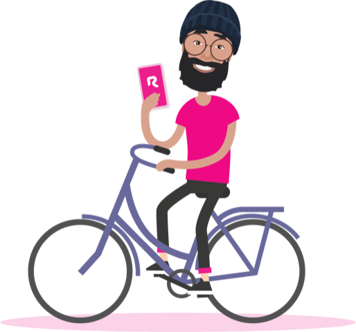 A person on a bike holding a pink cellphone