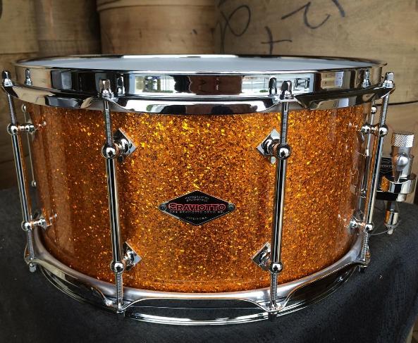 craviotto-maple-shells-solid-shell-snare-drum-stave-maple-walnut-mahogany-santa-cruz-california-drums-drummers-johnny-steam-bend-nashville-huge-drumkit-drumset-reserve-shop-snaredrum-14-orange-sparkle-finish