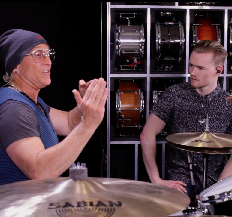 Mark Schulman online drum lessons with 180 drums
