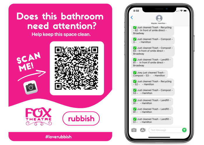 An example of a QR code that can be posted in bathrooms that people can scan to report issues and get notifications when cleaned.