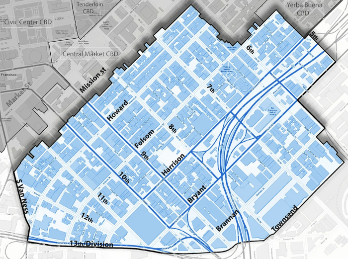 A map showing the zoning of the SoMa West Community Benefit District