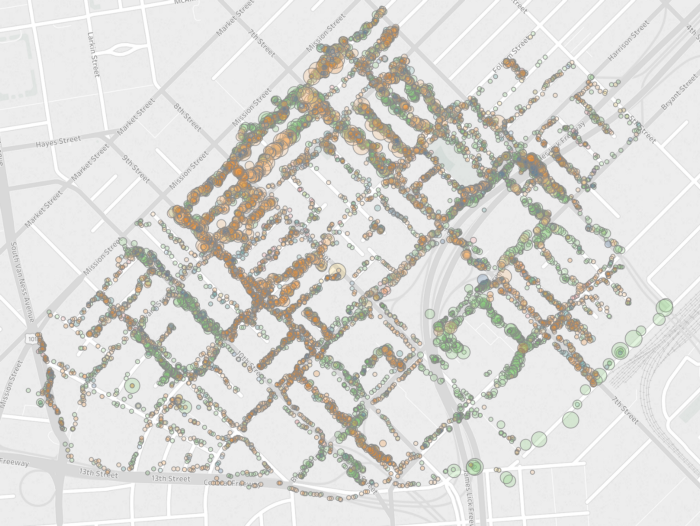 A heatmap of the SoMa West CBD showing the density of trash