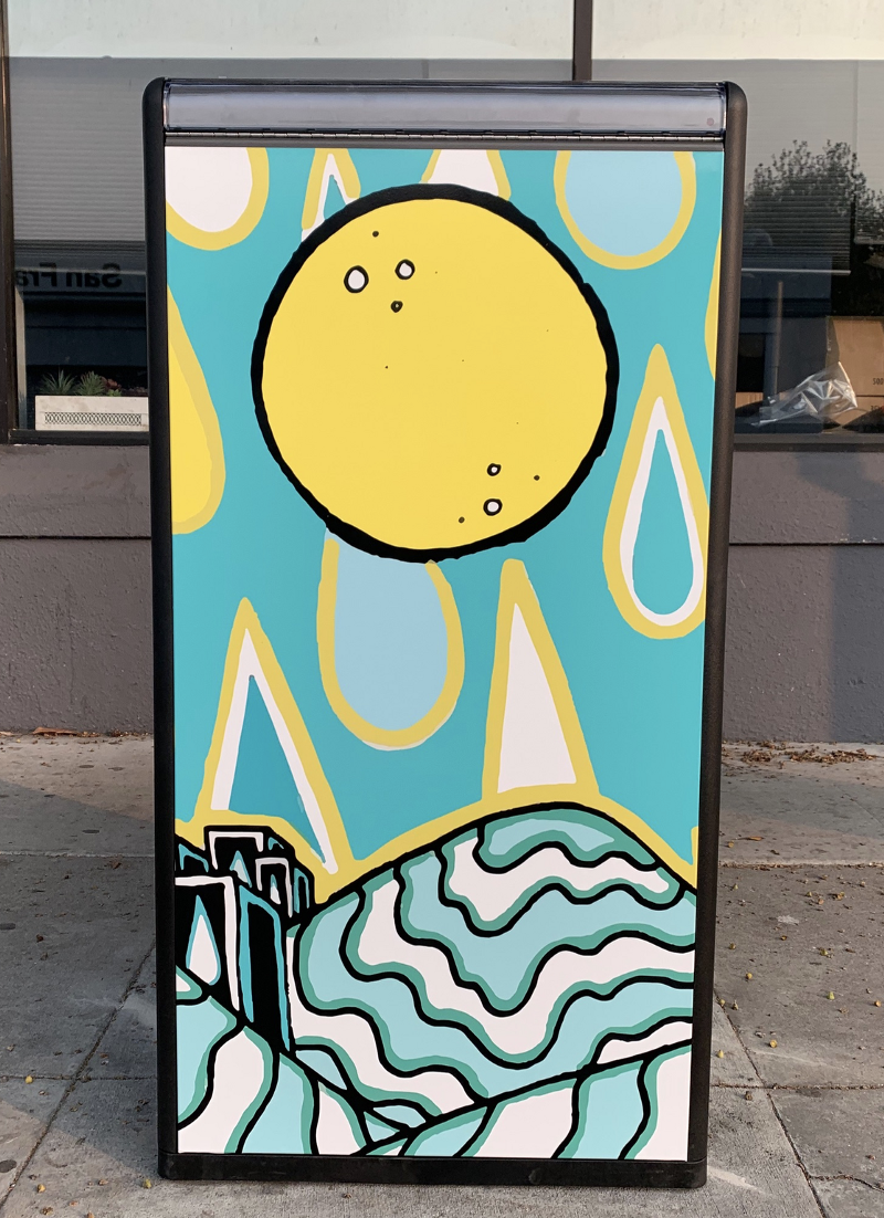 BigBelly trash receptacle with artwork by Rae Miller on the side panel