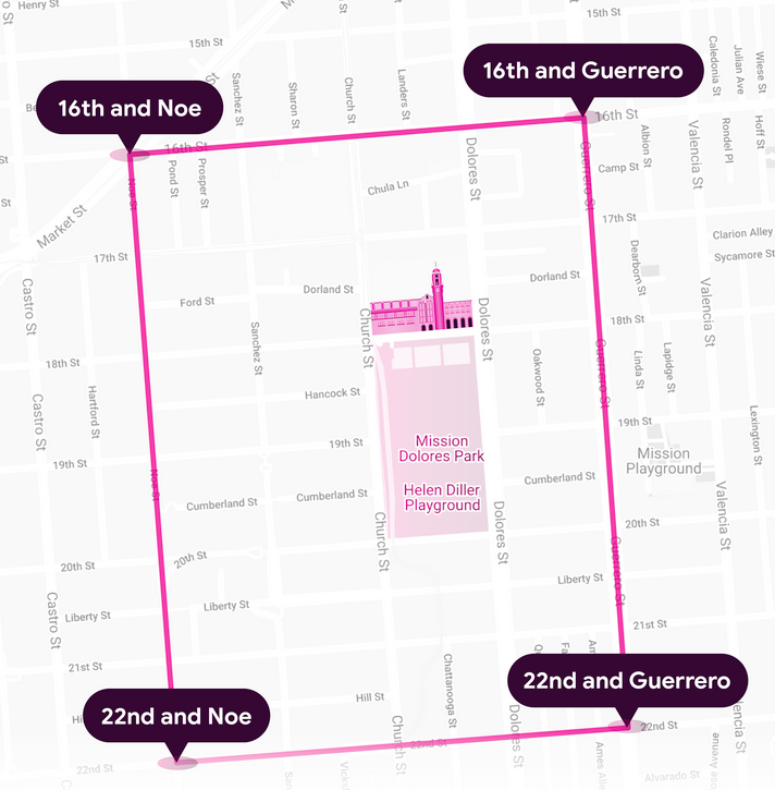 A map of the Mission Dolores Park area for the litter pickup event, bounded by 16th St, 22nd St, Guerrero St, and Noe St.