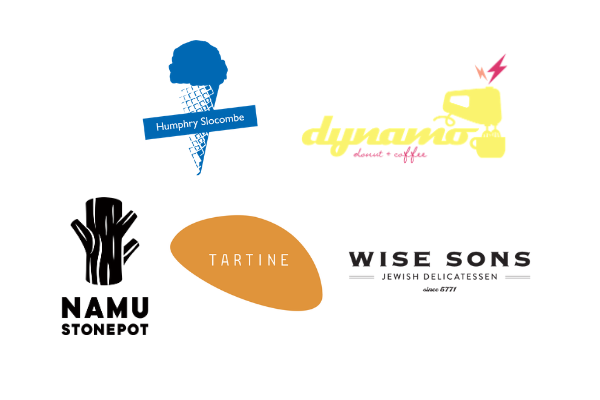 Logos of participating business: Humphry Slocombe, Dynamo Donut, Namu Stone Pot, Tartine, and Wise Sons