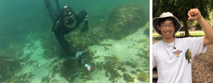 A student in diving gear underwater picking up floating trash. A student holding a small fish that he caught