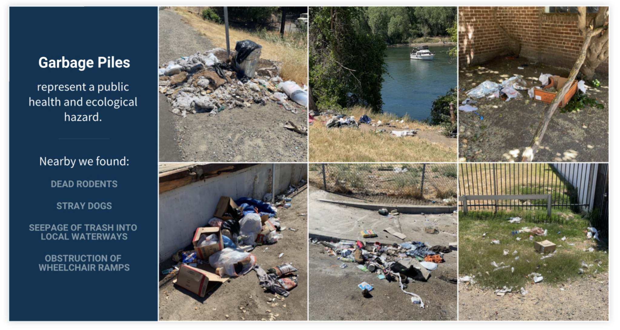 Garbage piles in the River District 2021.