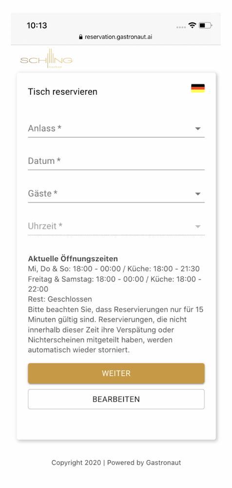 Reservierungs Widget. Einfach auf jeder Webseite implementiert.