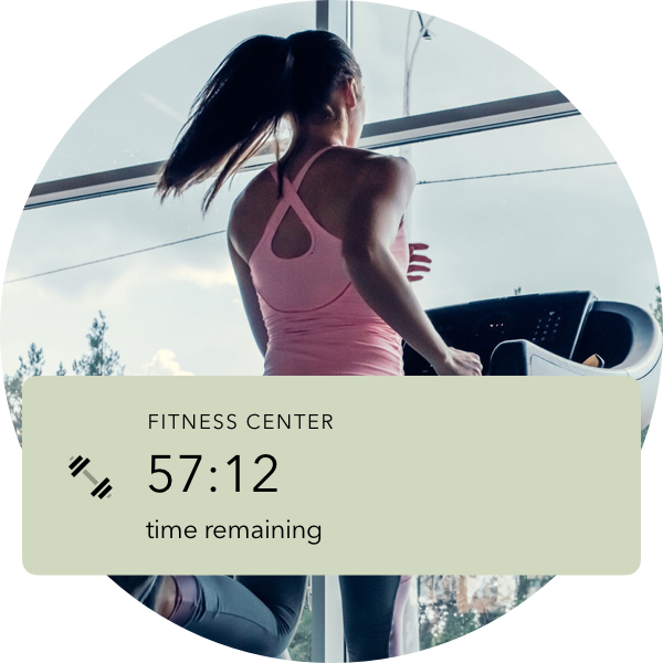 UI displaying how much time is left on a fitness center reservation