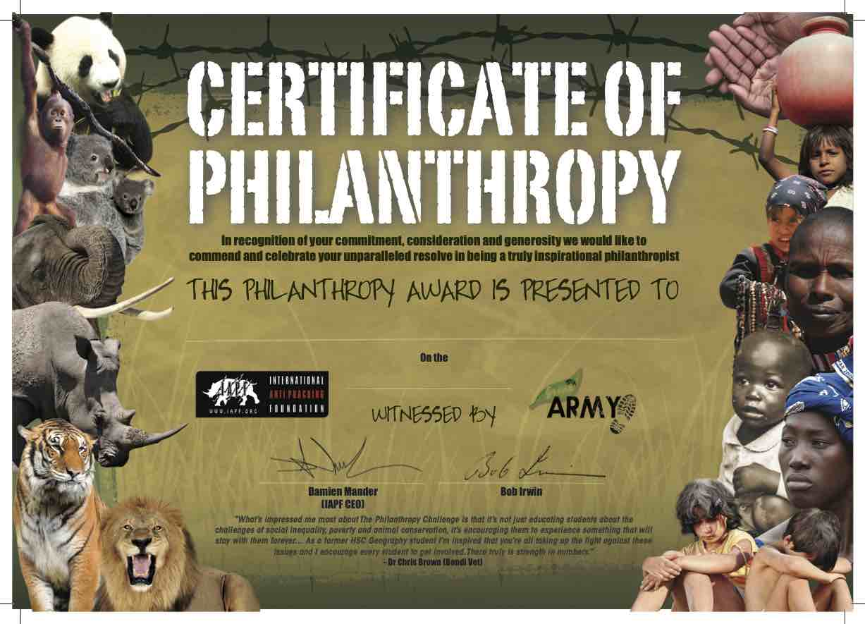 Certificate of Philanthropy with Bob Irwin