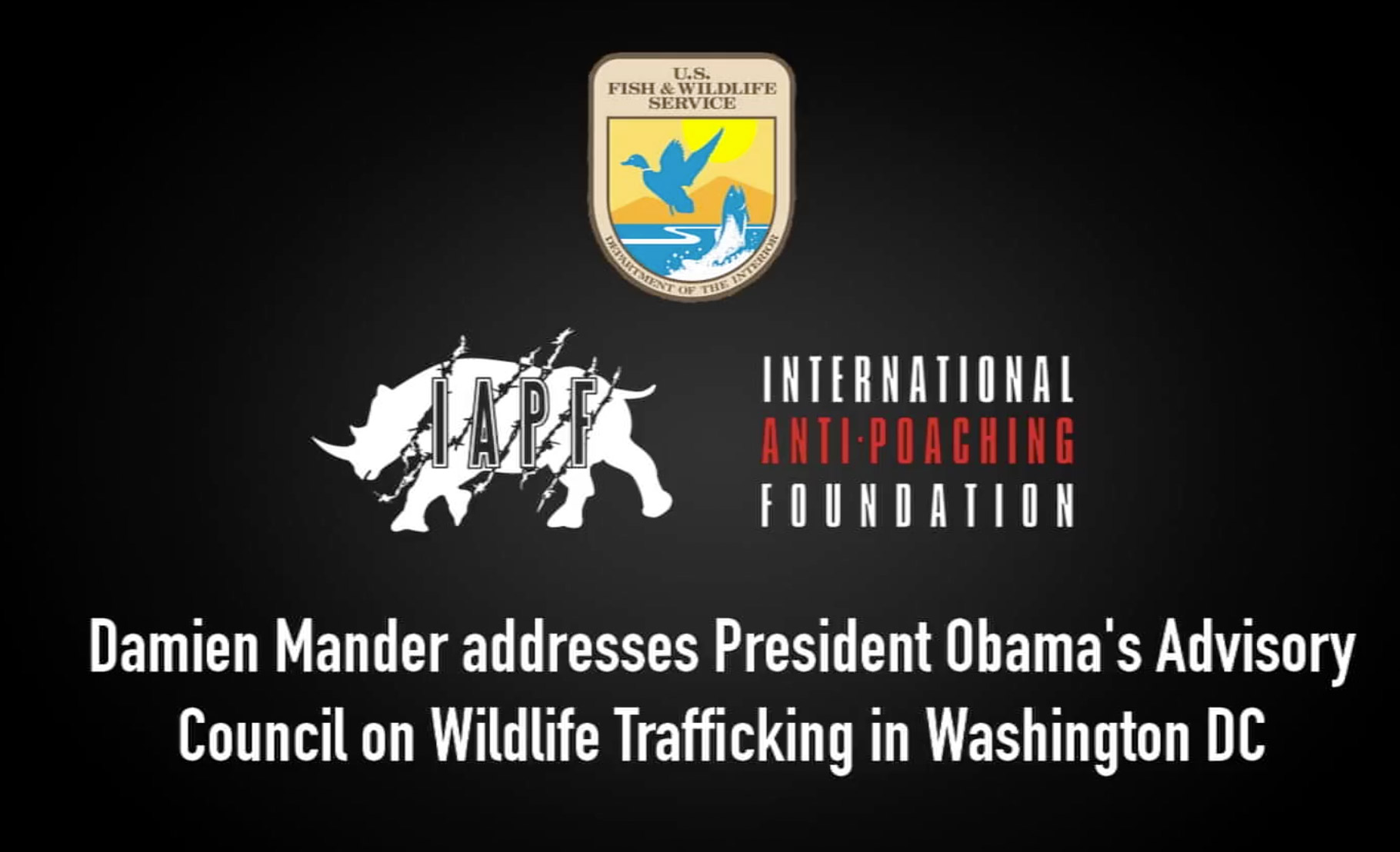 Damien Mander addresses President Obama's Advisory Council on Wildlife Trafficking in Washington DC