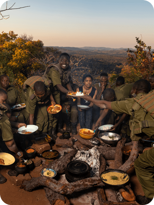 Akashinga Rangers with Food