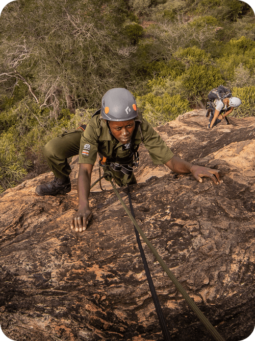Lead Rangers rock climbing