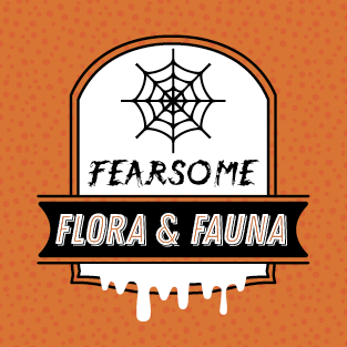 Fearsome flora and fauna graphic against orange patterned background