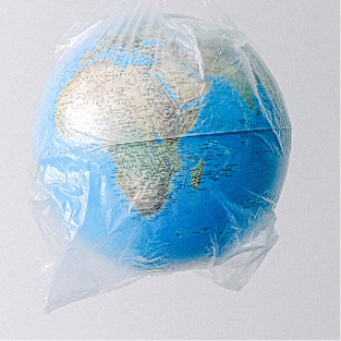 Globe wrapped in a plastic bag
