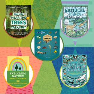 Book giveaway showing The Wild Wonders of Alabama; Can you hear the trees talking?; Exploring Nature: Journal for Kids; The National Parks Coloring Book; and Atlas of Ocean Adventures