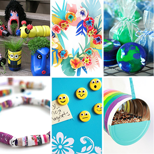 From left to right, a collaged grid showing garden planters, a flower wreath, recycled crayons turned into earths, rolled magazine bracelets, emoji faces on yellow bottle caps, and a bird feeder made from an aluminum can