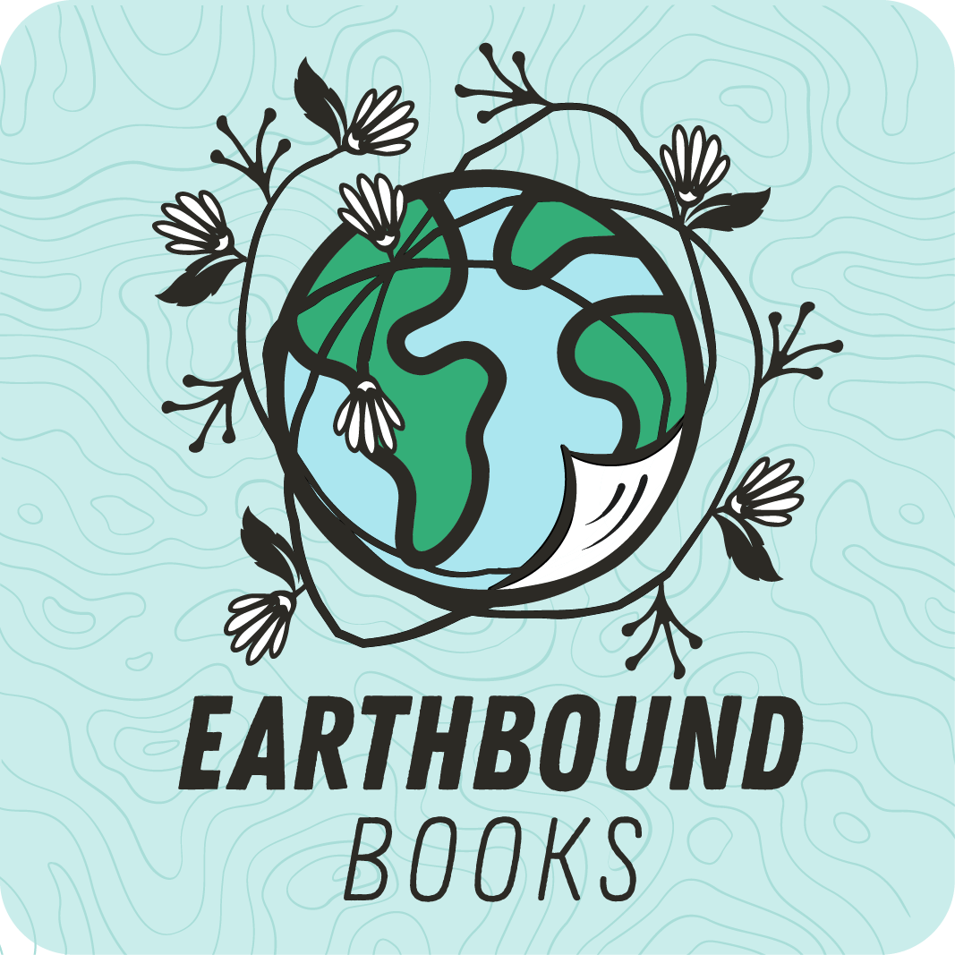 """New logo featuring a blue and green illustrated earth encircled by a hand drawn line featuring a floral design and the corner of a page turn in the bottom right side of the earth. Below is the text """"Earthbound Books"""" in a sans serif font."""